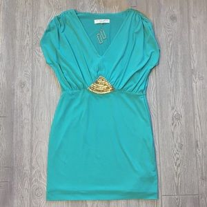 🦄 Trina Turk Turquoise Dress w/Gold Beading ~ 8